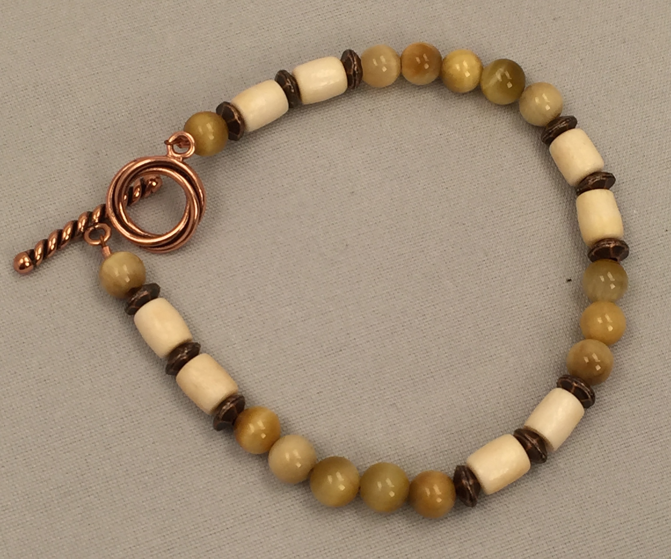 Golden Honey Tigers Eye And Bone Bracelet