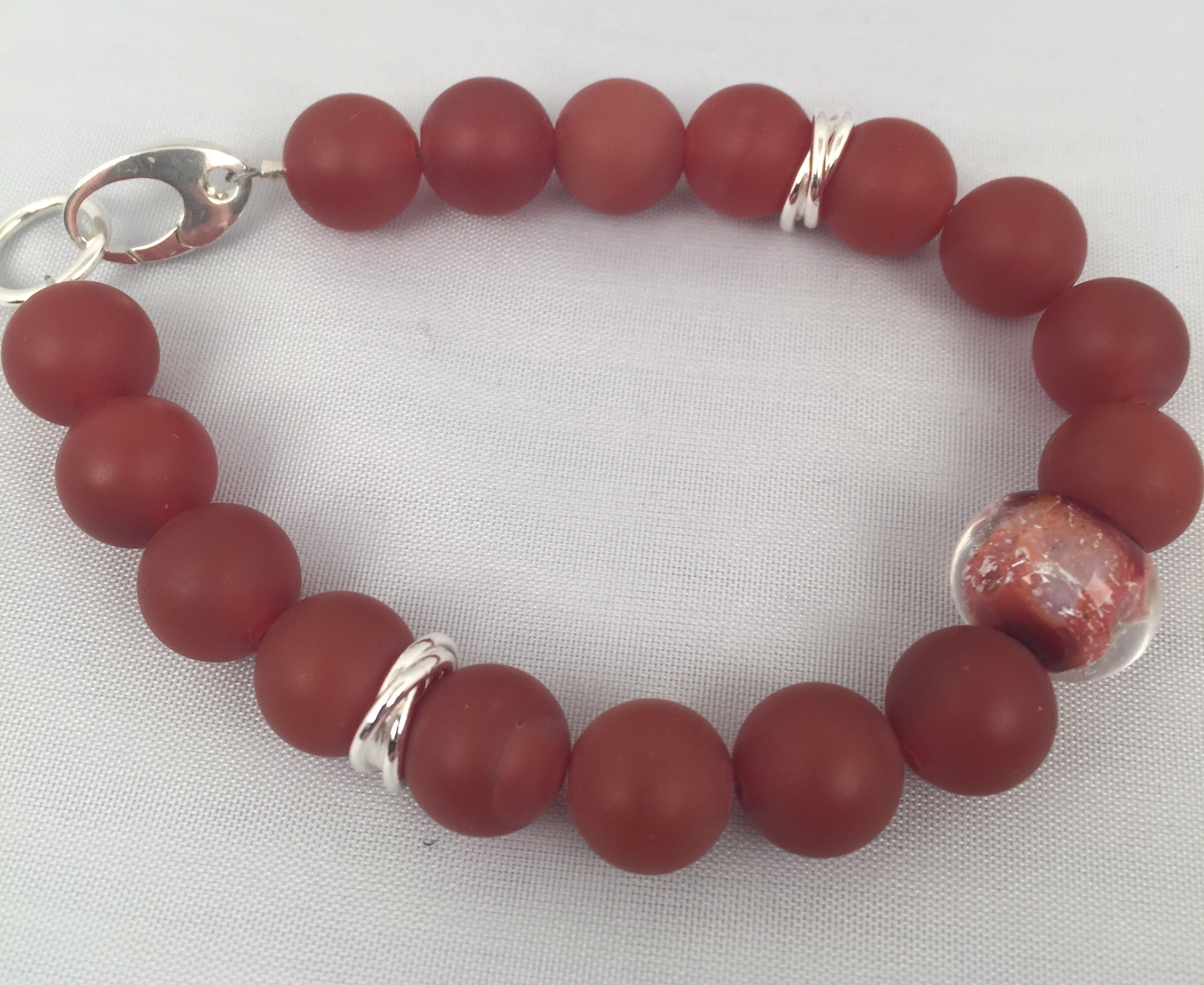 Matte Carnelian And Glass With Sterling Silver Bracelet