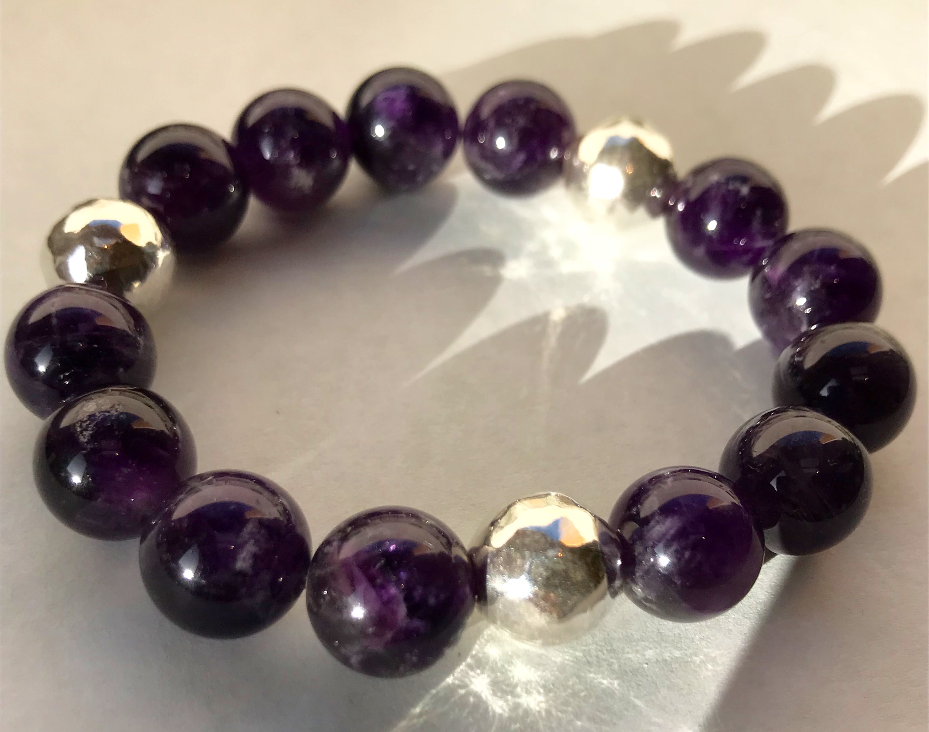 purple light chakra bracelet stretch stone